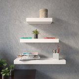 Price Decornation Floating Wall Shelves Set Of 3 Shelves 24In 18In 12In White Intl Decornation New