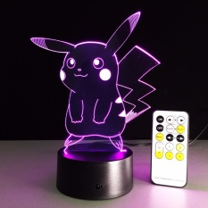 DEPERO Remote Control New Pokemon Lamp 3D Pikachu Night Light Halloween Kids Toys Holiday Gifts USB Lampe Pocket Monsters Lampara - intl Singapore