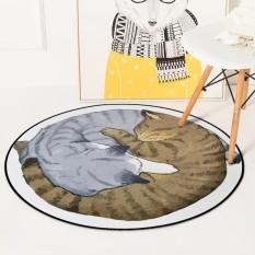 Retail Price Diameter 60Cm Cartoon Round Cat Floor Mat Carpet Non Slip Computer Chair Mats Baby Crawling Rug Bedroom Soft Bedside Footcloth Intl