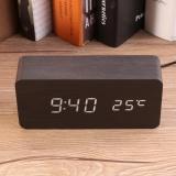 Brand New Digital Wooden Led Alarm Clock Sounds Control Temperature Desktop Clock 2 Intl