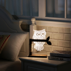 Dimmable USB Owl Table Light 3D Nightlight LED Table Lamp Home Decor with UK Plug - intl