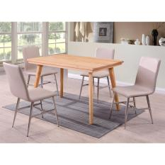 Dining Set 4 + 1 Solid Pine Wood Table and Chairs with stainless steel legs T006