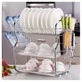 Dish Rack With Cup And Cutlery Holder Dish Drainer Drying Holder 3 Tier On Line