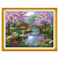 DIY Handmade Needlework Counted Cross Stitch Set Embroidery Kit 14CT Beautiful Scenery of Park Pattern Cross-Stitching 57 * 45cm Home Decoration