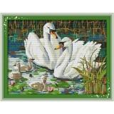 Best Rated Cross Stitch Swan Animal Pattern Diy 3D Handmade 14Ct Printed Pattern Needlework Embroidery Cross Stitch Kit