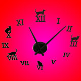 Diy Self Adhesive Decal Modern 3D Cat Wall Stickers Home Room Decor Wall Clock Online
