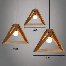 DIY Wood Ceiling Lamp Light Pendant Home Cafe Modern Geometrical Chandelier - intl