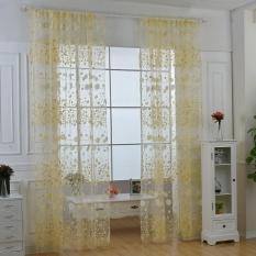 dmscs Roman Rod Type Village Garden Style Lovely Flower Drapery Sheer Type Tulle Curtain (Blue) - intl