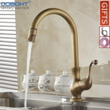 Lowest Price Doboht Classic Kitchen Faucet Antique Brass Swivel Spout Kitchen Tap With Single Handle Vessel Sink Mixer Tap Intl