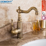 Latest Doboht Deck Mounted Single Handle Hole Bathroom Sink Mixer Faucet Antique Bronze Brass Hot And Cold Water Face Mixer Tap Intl