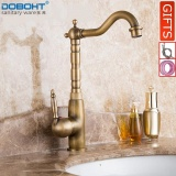 Buying Doboht Deck Mounted Single Handle Hole Bathroom Sink Mixer Faucet Antique Bronze Brass Hot And Cold Water Face Mixer Tap Kitchen Faucet Intl