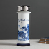 New Double Layer Ceramic Straight Body Cup Insulated Cup