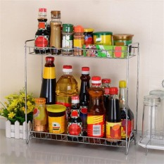 Buy Double Layers Stainless Steel Shelf Rack Heavy Duty Durable Kitchen Shelve Spice Storage Rack Organizer With Tool Holder Intl Online