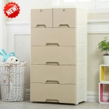 Recent Double Lock 5 Layer Khaki Drawer Cabinet 58X40X112 Cm Storage Lockers Intl