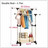 Wholesale Double Rod 1 Tier Stainless Steel Clothes Drying Rack Pine Movable Wheels Laundry Wardrobe Floor Standing Clothing Stand Hat Coat Jacket Hanger