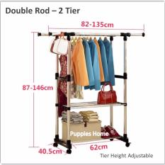 Sale Double Rod 2 Tier Stainless Steel Clothes Drying Rack Movable Wheels Laundry Wardrobe Floor Standing Clothing Stand Hat Coat Jacket Hanger Puppies Home Online