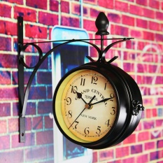 Sale Double Sided Round Wall Mount Station Clock Garden Vintage Retro Home Decor Intl Online China