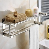 Sale Double Stainless Wall Mounted Bathroom Towel Rail Holder Storage Rack Shelf Bar Intl Online China