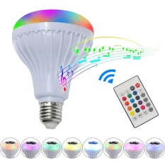E27 Wireless Bluetooth 3.0 Lamp Bulb Speaker Remote Control RGBW LED Light - intl