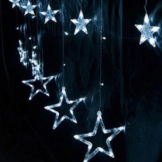 Eachgo Christmas Party Wedding Lamps LED Five-pointed Star Fairy String Lights Christmas Tree Window Balcony Decor Romantic Sweet Home Lights - intl Singapore