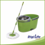 Easy Spin Floor Mop W Stainless Steel Basket Microfiber Cloth Intl Deal