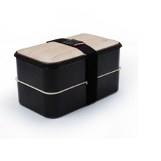 Promo Eco Friendly Bento Lunch Box With Special Heatproof And Leakproof Silicone Design Black