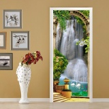 Top 10 Eco Friendly Hot Garden Waterfall Door Wall Stickers Diy Mural Bedroom Home Decor Poster Pvc Waterproof Door Sticker 77X200Cm Intl