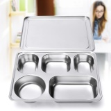 Wholesale Eco Lunchbox Stainless Steel Divided Lunch Food Serving Bento Box Tray Cover Intl