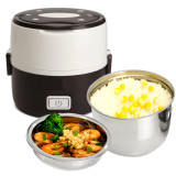 Retail Electric 1 3L Portable Lunch Box Mini Rice Cooker Steamer 2Layer Stainless Steel