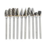 Cheapest Electric Grinding Accessories 10Pcs 12 24Inch Tungsten Steel Carbide Milling Cutter For Dremel Rotary Burr Tool Set Cnc Engraving Export