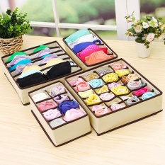 Elife 4PCS/Set Practical Foldable Organizer Storage Box Drawer Closet Wardeobe For Underwear Scarfs Socks Bra - intl