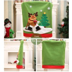 Elk Snowman Santa Claus Christmas Chair Covers home decoration - intl