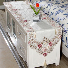 Embroidered Flower Table Runner Mat Tablecloth Wedding Party Home  Decorative   Intl