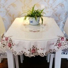 Review Embroidered High Grade Round Tablecloth Fabric Oem