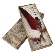Purchase English Calligraphy Feather Dip Quill Pen Writing Ink Set Stationery Gift Box With 5 Nibs Intl Online