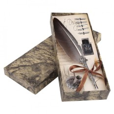 English Calligraphy Feather Dip Quill Pen Writing Ink Set Stationery Gift Box With 5 Nibs Intl Compare Prices