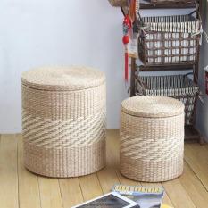 Entirely Handmade Straw Round Storage Stool In Stock