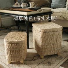 Handmade straw solid-wood storage stool