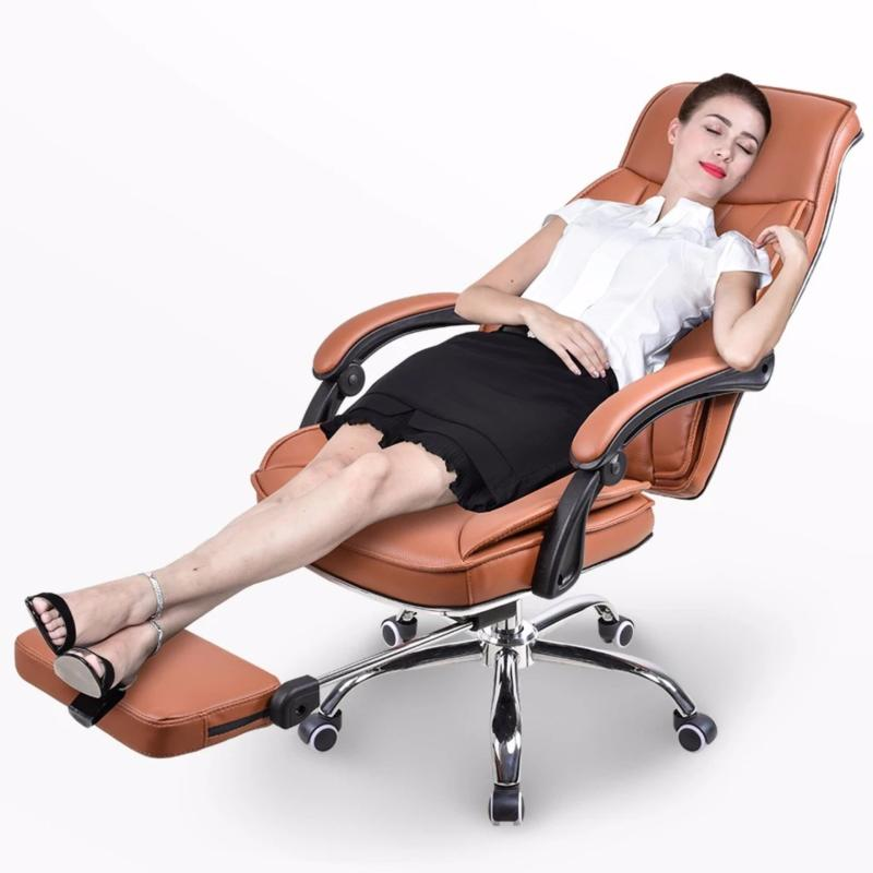 Ergonomic offie chair leather chair boss chair with foot rest P22 Brown Singapore