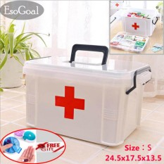 EsoGoal Family Medicine Cabinets Medical Box First Aid Kit Plastic Storage with Removable Tray Gift pill Case - intl