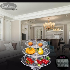 Esogoal Fruit Plate 3 Tier Acrylic Plate For Fruits Cakes Desserts Candy Buffet Stand For Home & Party With Free 50pcs Fruit Forks - Intl By Esogoal.