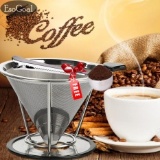 Esogoal Pour Over Coffee Filter Stainless Steel Reusable Double Mesh Paperless Coffee Dripper W Bonus Coffee Scoop Bag Clip Intl Discount Code