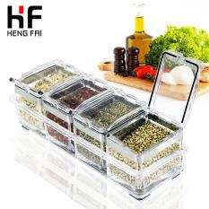 Hengfai Seasoning Box Set European Style Acrylic Seasoning Containers Kitchen Supplies Sugar Bowl Organic Glass Condiment Bottle