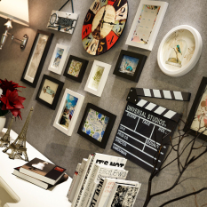 European bedroom frame photo wall