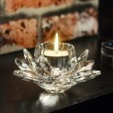 Low Cost European Crystal Glass Lotus Light Butter Lamps Lamp Holder Candle Sets