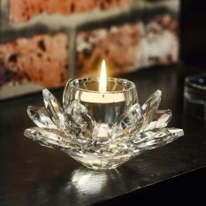 Wholesale European Crystal Glass Lotus Light Butter Lamps Lamp Holder Candle Sets