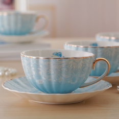 European Fashion Flowers Bone China Coffee Cup And Saucer 240Ml Blue Intl In Stock
