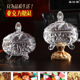 Sale European Imitation Crystal Glass With Lid Coffee Sugar Cans Wedding Dried Fruit Seeds Candy Jar Transparent Acrylic Sugar Bowl Online China