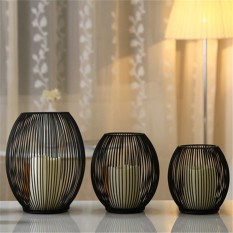 European Mediterranean iron cage lantern Candlestick Home Furnishing ornaments wedding candle holder 18cm - intl
