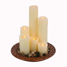 Mimosifolia European  style Flameless Candles Classic Pillar Real Wax Dancing Flame LED Electronic candle White 5CMX5CM  1PCS - intl